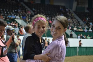 Kelly Morrison with a junior member taking a break during the show